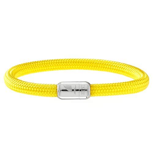 Wind Passion Pulsera Amarilla Náutica Brazalete Cuerda Trenzada Magnética para Hombre y Mujer, Tall Medium