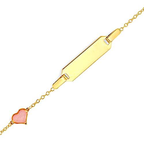 JC Trauringe 585 Gold Baby ID-Armband Kinder Goldarmband 14 cm mit zartem Herz in rosa I Ankerkette Armband mit Gravur Taufarmband Gold Namensarmband I Kinderschmuck made in Germany I 5.1001