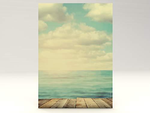 Sommer Motivpapier Ocean View, 100 Blatt DIN A4, 90g/qm, tolles Natur Briefpapier für private und geschäftliche Briefe, Einladungen, Speisekarten, Werbe-Flyer, kleine Plakate. Für Laserdrucker, Tintenstrahldrucker, Kopierer oder zum Beschreiben von Hand