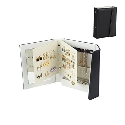 Creative Caja Joyero con espejo portátil viaje Caja Organizadora de Joyas libro de almacenamiento de joyas diseño plegable de 3 capas para anillo pendiente pulsera negro