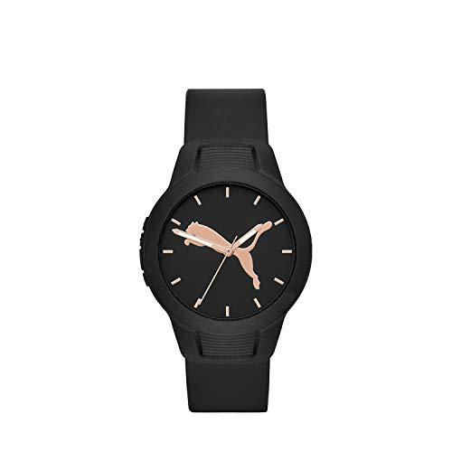PUMA Women's Reset Quartz Watch with Polyurethane Strap, Black, 18 (Model: P1006)