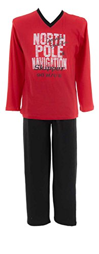 AdoniaMode Herren Pyjama Schlafanzug Sleepware Nachtwäsche V-Ausschnitt Langarm Front-Print North Rot Gr.48