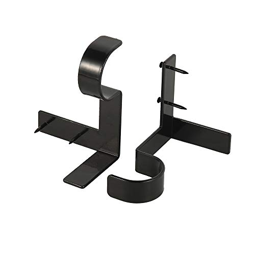2pcs Curtain Rod Bracket No Drill Curtain Rod Holder Window Frame Super Carrying Capacity No Screw Quick Hang Curtain Brackets for Bedroom Kitchen Window Valance Decoration (black, 2pcs)