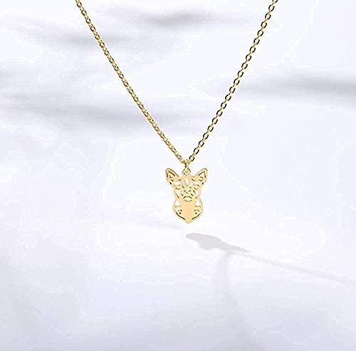 LBBYMX Co.,ltd Collar Collar Minimalista Collar de Perro de Origami para Mujer Collar de joyería de Animales con Lindo Collar con Colgante de Perro pequeño