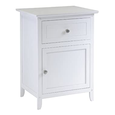 Winsome Wood Night Stand/ Accent Table with Drawer and cabinet for storage, White
