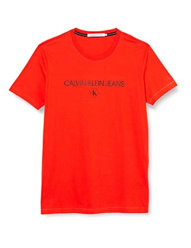 Calvin Klein Archive Logo Tee Camicia, Cherry Tomato, XS Uomo