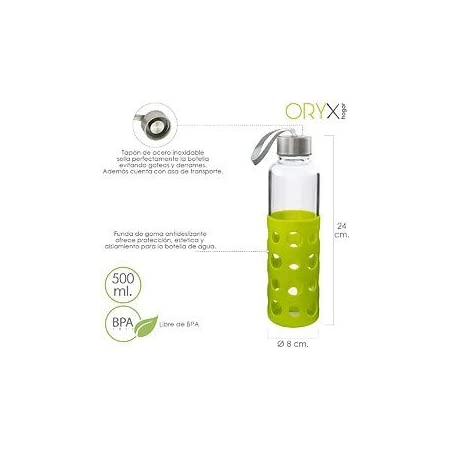 ORYX 5075055 Botella Agua Fabricada En Cristal con Funda De Goma y Tapon Antigotas, 500ml, Libre de BPA, Vidrio de borosilicato, Plateado