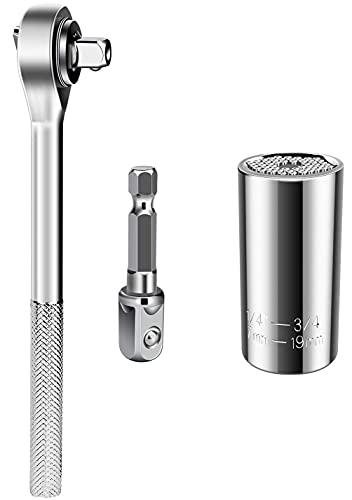 Llave de vaso universal, llave inglesa multifunción, adaptador de herramientas de reparación de herramientas de 7-19 mm, herramienta de mandíbula con adaptador y mango (3 en 1) (llave de vaso)