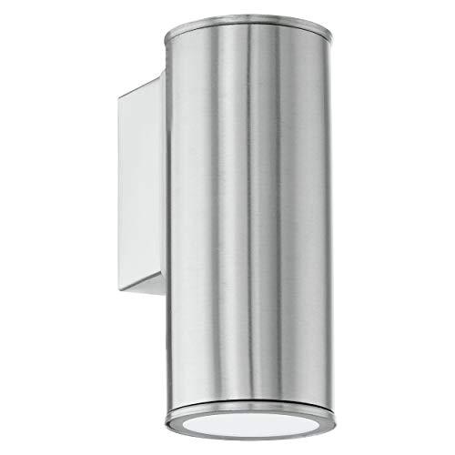 EGLO LED Außen-Wandlampe Riga, 1 flammige Außenleuchte, Wandleuchte aus Edelstahl, Farbe: Silber, IP44