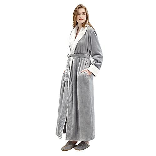 quierobe Womens Robes Long Plush Bathrobe Woman Fleece Housecoat Ladies Winter Warm Soft Sleepwear