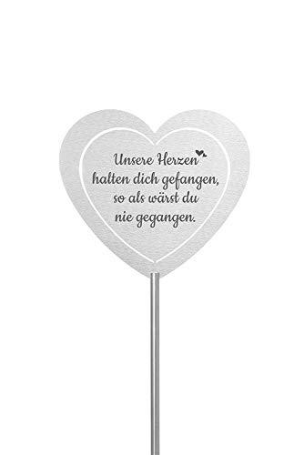 Fritz Cox® - Grabstecker: Edelstahl Herz 'Unsere Herzen halten dich gefangen'; Grabschmuck, in Liebe für einen geliebte Menschen; eine wetterfeste Erinnerung aus Edelstahl - auch für ein Urnengrab