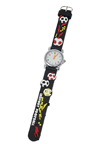 Weiche Silikon-Fußball-Thema-Spaß-Kinderuhr-Silber-mehrfarbige Zahl-Skala-analoge Quarz-Bewegung (schwarz)