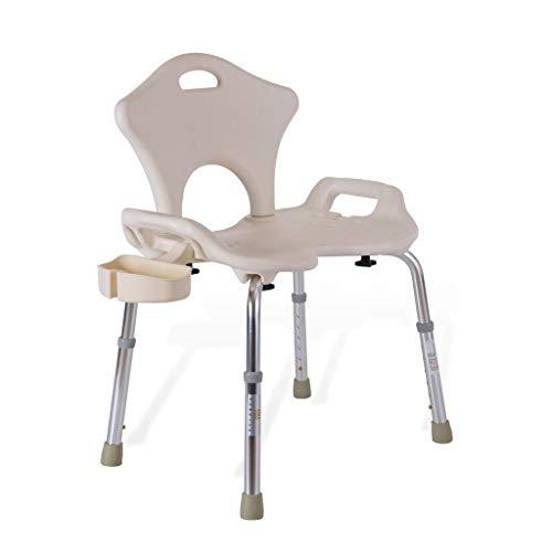 ZWH-Shower Bench Elderly Shower Chair, Bathroom Anti-Skid Bath Stool with Shower Buckle and Backrest Shower Chair