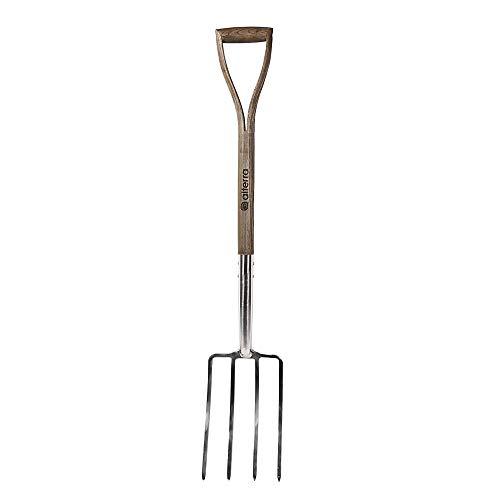 Alterra Tools Fourche creuse 4 dents en acier inoxydable Manche en Y Naturel