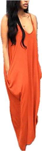 Womens Summer Spaghetti Strap Loose Beach Flowy Long Dress Maxi Dresses Beach Wear
