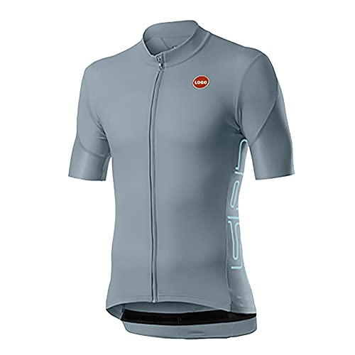 Men?s Cycling Jersey, Short Sleeve Biking Cycle Tops Mountain Bike Shirt Top Zipper Pockets Reflective Quick Dry Breathable Racing Bicycle Clothes (C,XXL)