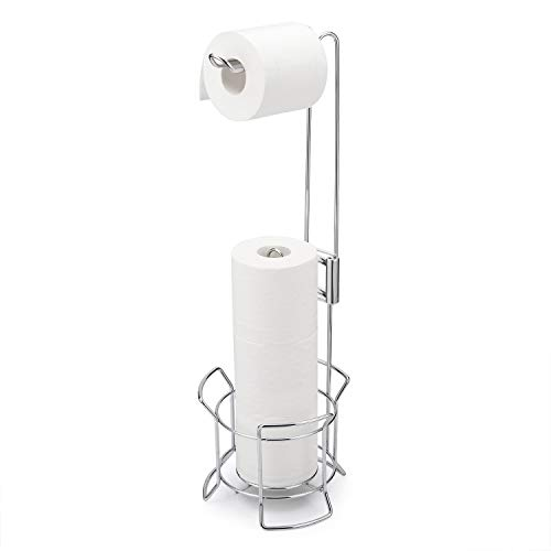 AmazerBath Toilet Paper Holder Stand, Bathroom Toilet Paper Dispenser Storage for 3 Rolls of Toilet Tissue, Free Standing Toilet Paper Holder for Storage Organizing