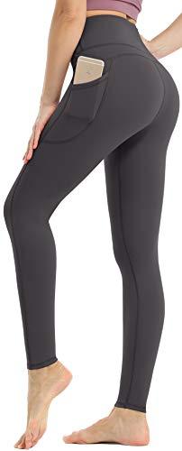 Persit Damen Sport Leggings, High Waist Yogahose Lang Sporthose Sportleggins Tights Grau M