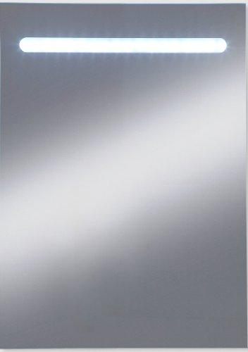 Kristall-Form 48000080 - Specchio illuminato con 18 LED, già montato, classe di protezione 2, IP 20, certificato TÜV e GS, con gancio incluso, colore: Bianco