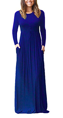 GRECERELLE Women's Round Neck Long Sleeves A-line Casual Dress with Pockets Royal Blue-X-Large