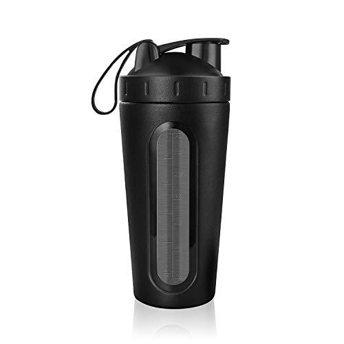 Homiguar Protein Shaker Bottle, Stainless Steel Loop Top Shaker Cup, Visible Window, Leak Proof, 28-Ounce - Black