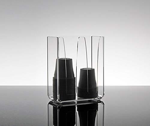 Slato Dispenser Porta Bicchieri di plastica da caffè a Due Scomparti in plexiglass Trasparente Camelia