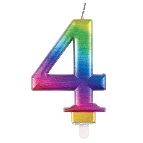 Unique Vela de cumpleaños 19634, número 4-3.5 pulgadas, arco iris, metálico, 1 unidad