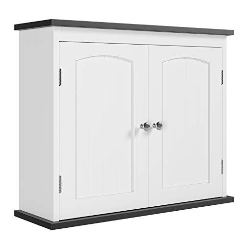 HOMECHO Armario de Pared para Cocina Bano Salon Armario para Colgar en Pared con 2 Puertas Mueble Suspendido Blanco 60x19.5x49.5 cm