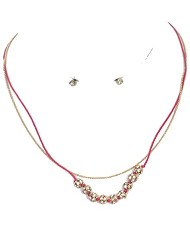 Beyoutifulthings Damesketting, twee banen, roestvrij staal, verguld, rode draad, bolletjes, zirkonia, helder, lengte 40,6 cm, 1 paar oorbellen, knopen verguld, bezet zirkonia, helder 1,3 cm, set