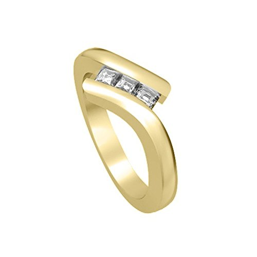 0.60ct G/SI1 Diamante Trilogy Anello da Donna con Princess diamanti in 18kt Oro giallo