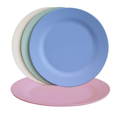 Juego de 4 platos de cena de 9,8 pulgadas, platos de carne irrompibles, platos de pasta grandes, vajilla de ensalada de paja de trigo ligero, vajilla de postre de fibra reutilizable (25 cm, 4 colores)