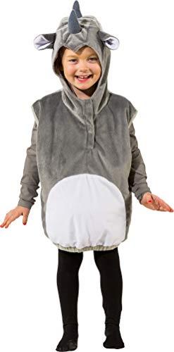 narrenkiste O5010-104 grau-weiß Kinder Mädchen Junge Nashorn Weste-Kostüm Gr.104