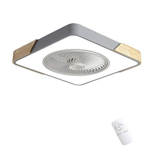 LED Madera Ventilador de Techo con Iluminación Sincronización Inteligente Dormitorio Silenciosa Invisible Ventilador Lámpara Plafon con Control Remoto Cuadrado 36W para Sala de Estar Comedor VOMI