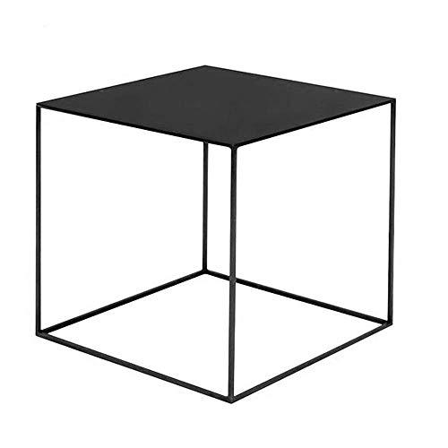 Mesa de cama, Mesas de extremo de hierro labrado Loft Loft, mesa de centro americana del país, mesa de centro casual, mesa lateral de metal cuadrado, mesa de café negro Color: Negro, Tamaño: 15.7415.7