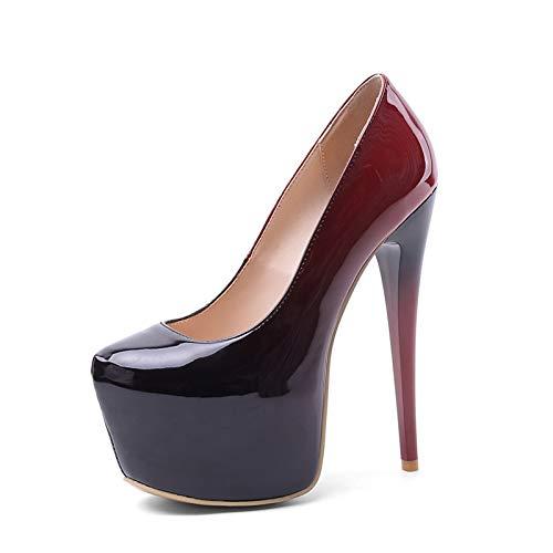 ZHIFENGLIU Tacones Súper Altos para Mujer, Zapatos De Plataforma Impermeables para Mujer, Tacones Altos De Tacón De Aguja con Punta Redonda, Tamaño Grande, Tamaño Extra Grande,Rojo,44