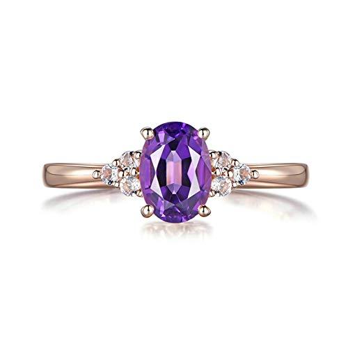 Bishilin Oro Rosa 18K Anillo de Boda Púrpura Amatista con Incrustaciones de Amatista de 0.83Ct Y Diamante de 0.08Ct Rosa Dorado Morado Anillo de Compromiso Anillo de Mujer Talla:22