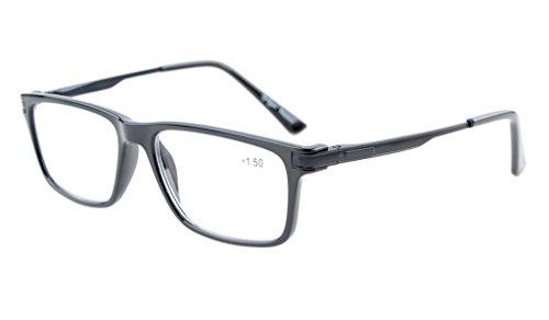 Eyekepper calidad TR90 Marco del resorte de la bisagra gafas de lectura para los hombres Las mujeres con estilo Crystal Clear Vision Black +2.5
