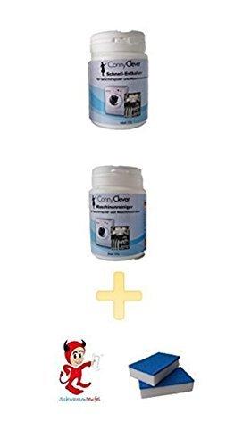 Sparpack Pflegemittel für Geschirrspüler 2er Pack - Reiniger und Entkalker ++ Aktion Maschinenreiniger • Reiniger Schwammteufel der kleine Putzteufel 2er Set mit Reinigungsoberfläche blau
