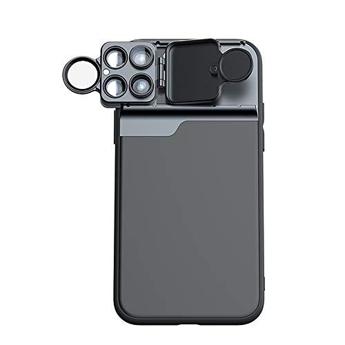 Kit de lente de cámara para iPhone 11 Series con funda de teléfono filtro CPL+macro 10X 20X + telescopio + lente ojo de pez de 180°...