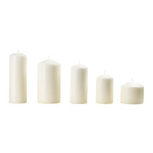 IKEA FENOMEN - Unscented block candle, set of 5, natural