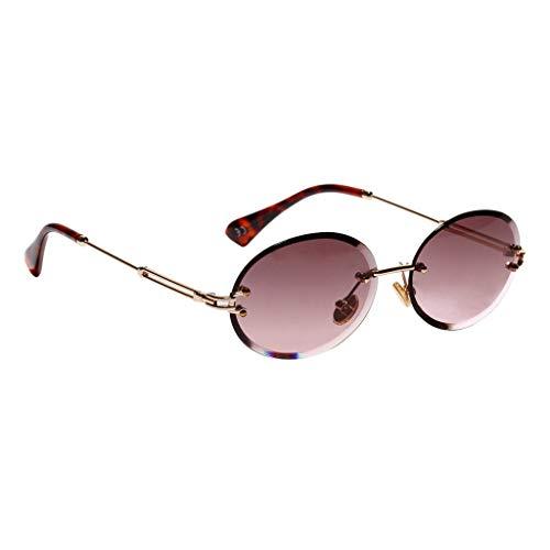 kowaku Gafas de Sol Sin Montura de Forma Ovalada para Mujer Gafas de Corte de Diamante de Fiesta Clásica - Púrpura Oscuro