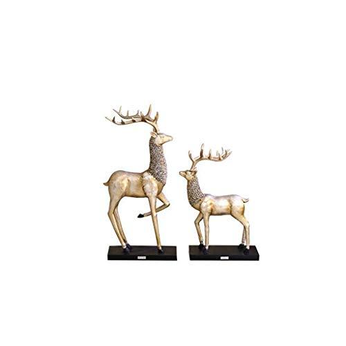 PEILIAN Estatuas De Resina Escultura, Adornos Accesorios For El Hogar Par Alces Salón De Estilo Europeo, Muebles De Época Craft Un Par De Barras De Entrada (Size : B)