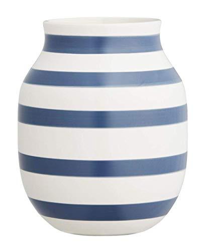 Hak Kähler Omaggio Vase aus Porzellan mit Streifen, Moderne Vase, rund, bauchige, skandinavisches Design Vase für Blumen, Blau, 20cm