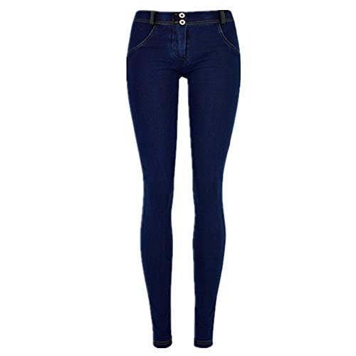 N\P Pantalones vaqueros de talle bajo para mujer Streetwear lápiz pantalones de mujer elásticos slim fit, Azul / Patchwork, 42 US