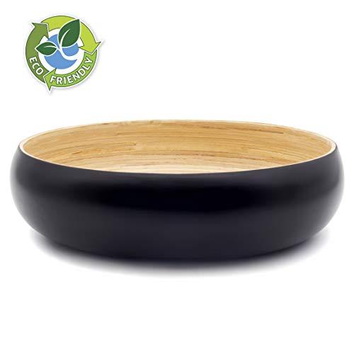 Dehaus® Gran Frutero de Cocina de Bambú de 30 cm, Ensaladera Elegante, Cuenco de Madera para Servir Ensaladas, Moderna Cesta de Madera para el Pan, Bol Grande Redondo para Pasta (Negro)