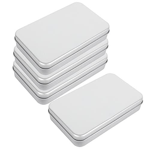 cabilock 4 Piezas de Caja de Lata Vacía con Tapa Mini Caja de Monedas de Joyería Caja de Almacenamiento Rectangular de Hojalata Caja de Metal Vacía con Bisagras