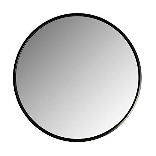 LOFTIKA NEGRO 60cm Espejo redondo moderno montado en la pared de para baños, áreas de entrada, dormitorios, salas de estar y más.
