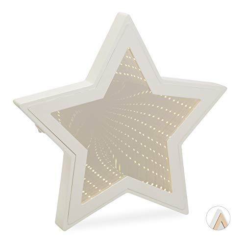 Relaxdays Infinity-spiegel, sterren, led-decoratiespiegel als sfeer- of nachtlampje, 3D, batterij, 28 x 29 x 3 cm, wit
