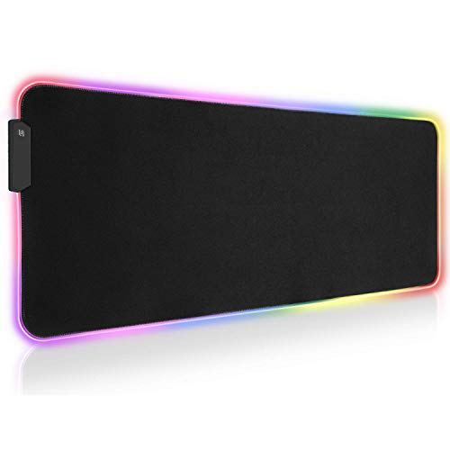 CARRVAS RGB Gaming Mouse Pad, Large Mouse Pad 31.5' x 12',12 Kinds of Lighting LED Mode. Computer Keyboard Pad, with Microfiber Woven Material and Non-Slip Rubber Base Design