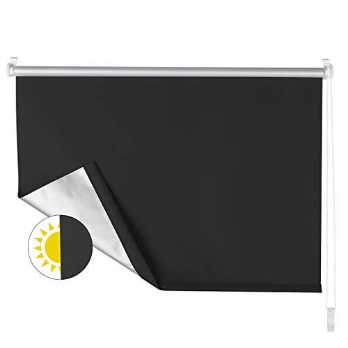 OBdeco Verdunkelungsrollo Klemmfix Thermo Rollo 110×160cm Schwarz ohne Bohren Silberbeschichtung Sichtschutz Seitenzugrollo für Fenster